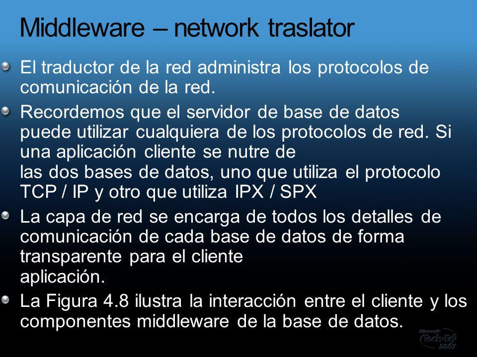 El traductor de la red administra los protocolos de comunicación de la red.