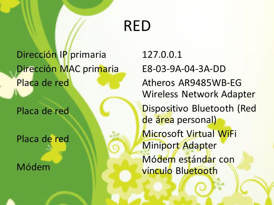 RED Dirección IP primaria Dirección MAC primaria Placa de red Módem 127.0.0.1 E8-03-9A-04-3A-DD Atheros AR9485WB-EG Wireless Network Adapter Dispositi