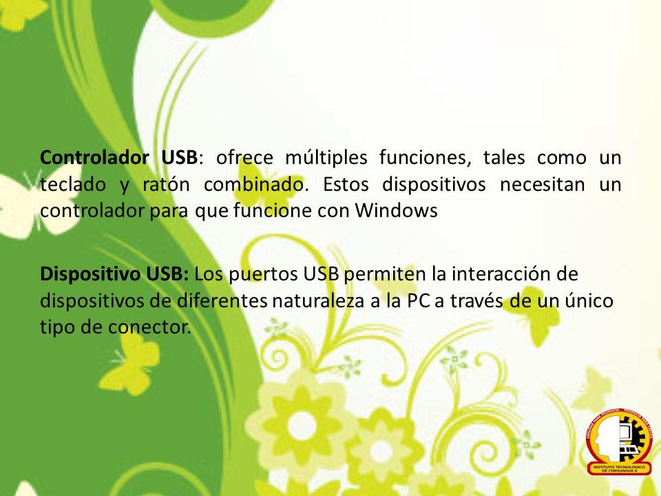 Controlador USB: ofrece múltiples funciones, tales como un teclado y ratón combinado. Estos dispositivos necesitan un controlador para que funcione co