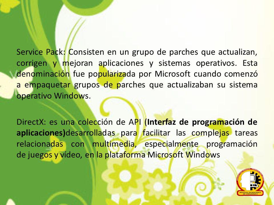 Service Pack: Consisten en un grupo de parches que actualizan, corrigen y mejoran aplicaciones y sistemas operativos. Esta denominación fue populariza