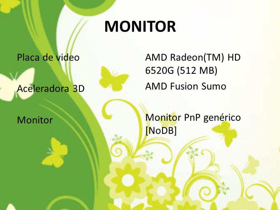 MONITOR Placa de video Aceleradora 3D Monitor AMD Radeon(TM) HD 6520G (512 MB) AMD Fusion Sumo Monitor PnP genérico [NoDB]