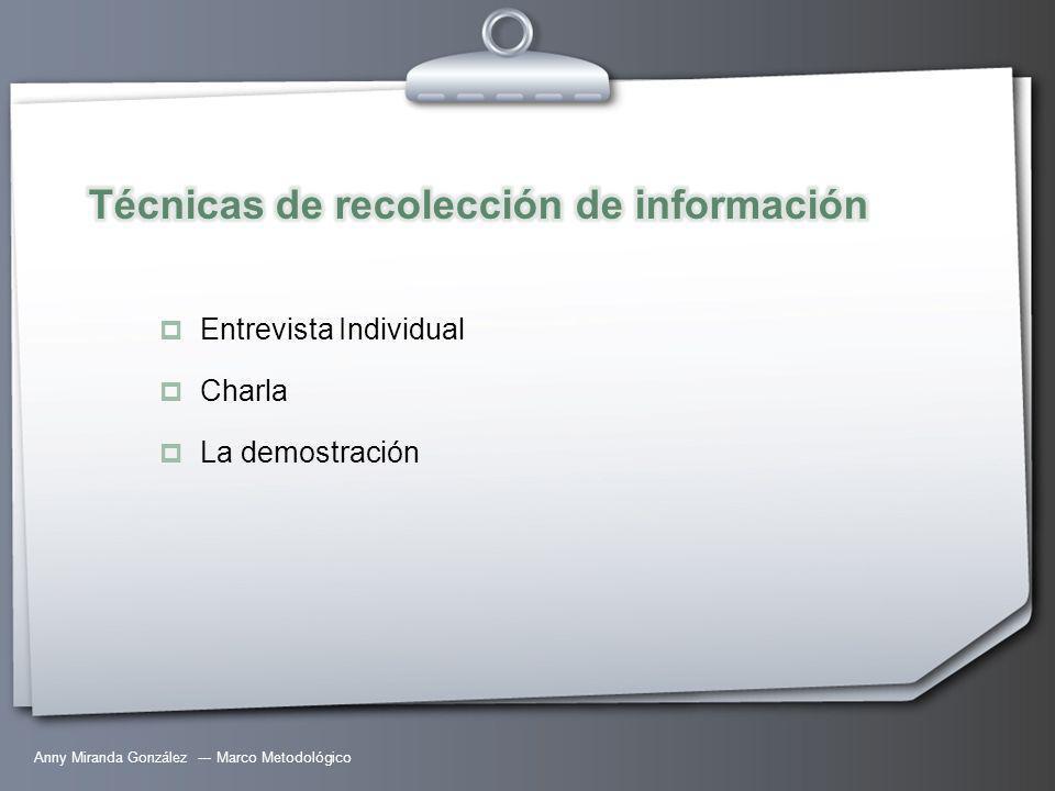 Anny Miranda González --- Marco Metodológico Entrevista Individual Charla La demostración