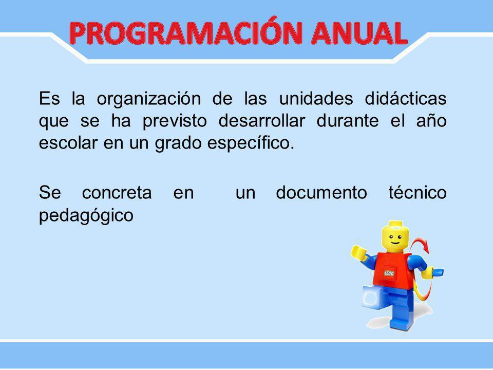 Es la organización de las unidades didácticas que se ha previsto desarrollar durante el año escolar en un grado específico. Se concreta en un document