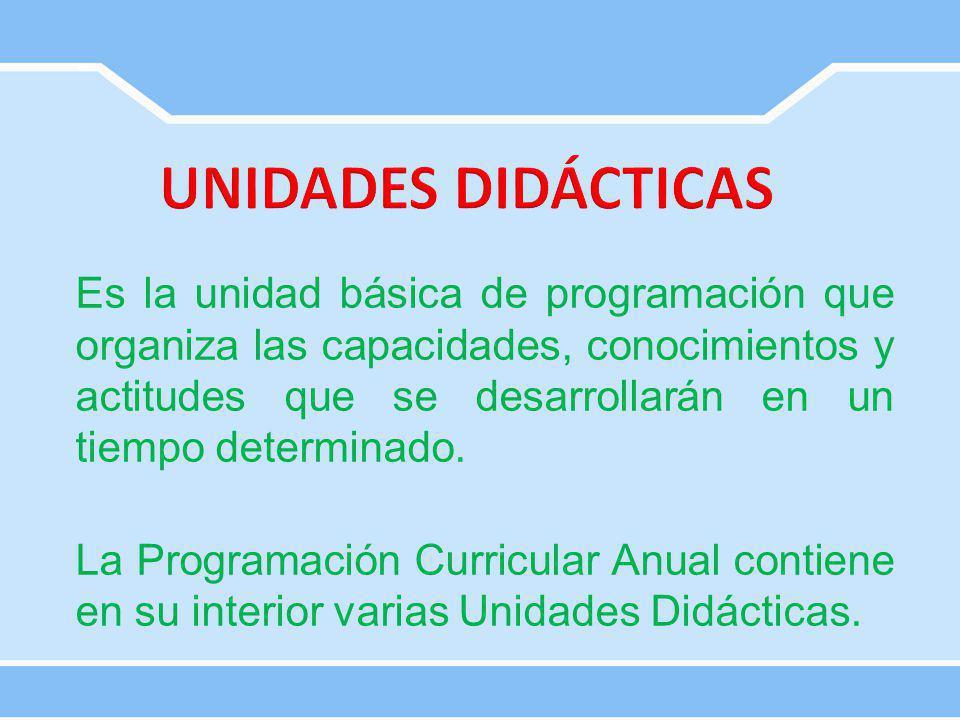Es la unidad básica de programación que organiza las capacidades, conocimientos y actitudes que se desarrollarán en un tiempo determinado. La Programa