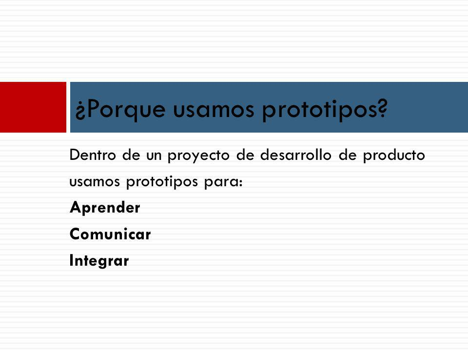 Dentro de un proyecto de desarrollo de producto usamos prototipos para: Aprender Comunicar Integrar ¿Porque usamos prototipos
