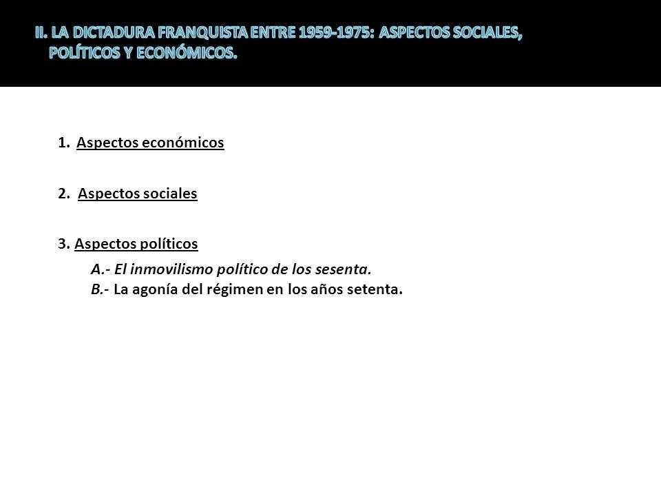 1.Aspectos económicos 2.Aspectos sociales 3.