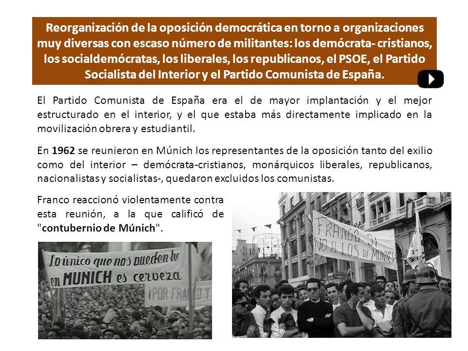 El Partido Comunista de España era el de mayor implantación y el mejor estructurado en el interior, y el que estaba más directamente implicado en la movilización obrera y estudiantil.