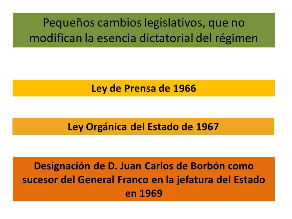 Pequeños cambios legislativos, que no modifican la esencia dictatorial del régimen Ley de Prensa de 1966 Ley Orgánica del Estado de 1967 Designación de D.