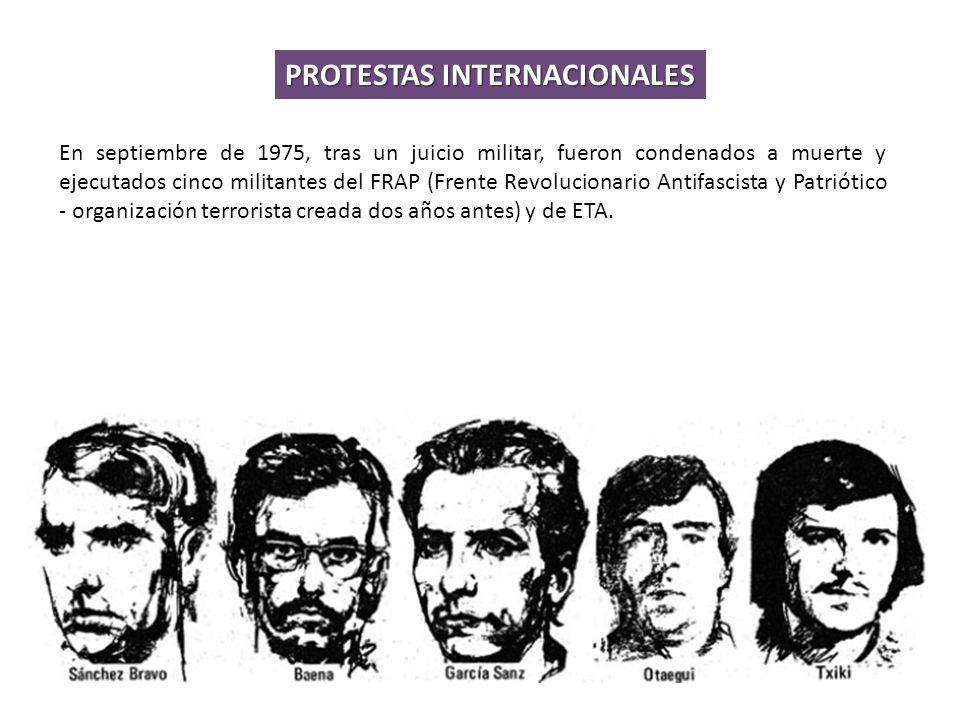 En septiembre de 1975, tras un juicio militar, fueron condenados a muerte y ejecutados cinco militantes del FRAP (Frente Revolucionario Antifascista y Patriótico - organización terrorista creada dos años antes) y de ETA.