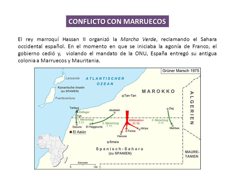 El rey marroquí Hassan II organizó la Marcha Verde, reclamando el Sahara occidental español.
