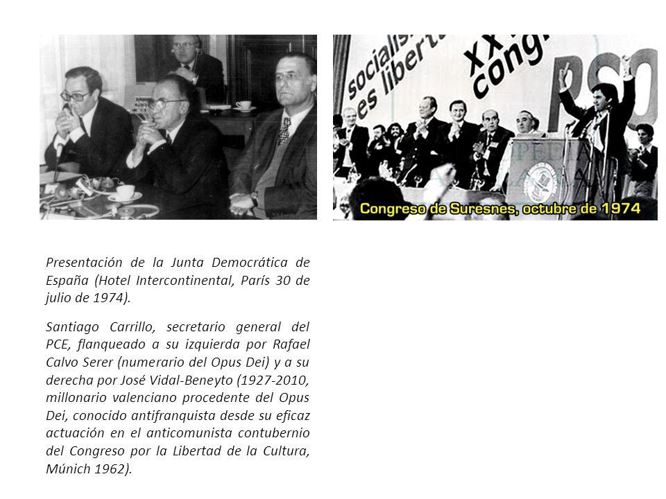 Presentación de la Junta Democrática de España (Hotel Intercontinental, París 30 de julio de 1974).
