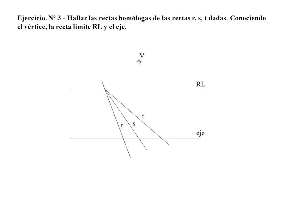 Ejercicio. Nº 3 - Hallar las rectas homólogas de las rectas r, s, t dadas. Conociendo el vértice, la recta limite RL y el eje.