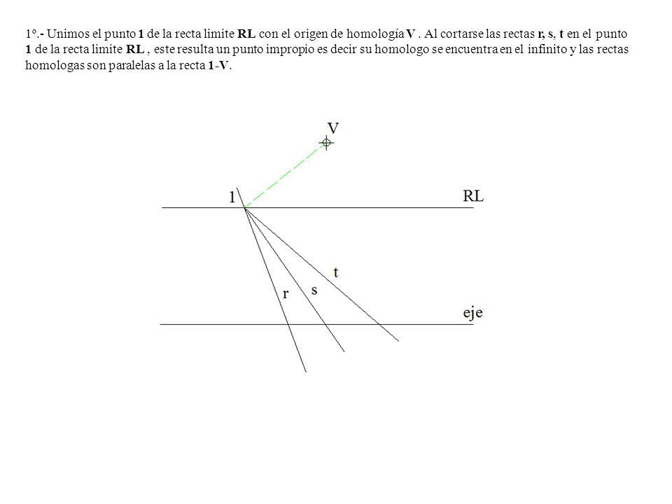 1º.- Unimos el punto 1 de la recta limite RL con el origen de homología V. Al cortarse las rectas r, s, t en el punto 1 de la recta limite RL, este re