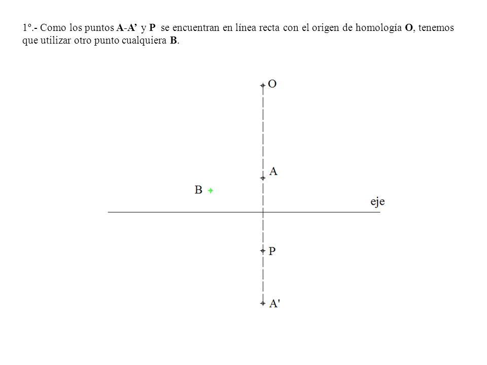 1º.- Como los puntos A-A y P se encuentran en línea recta con el origen de homología O, tenemos que utilizar otro punto cualquiera B.