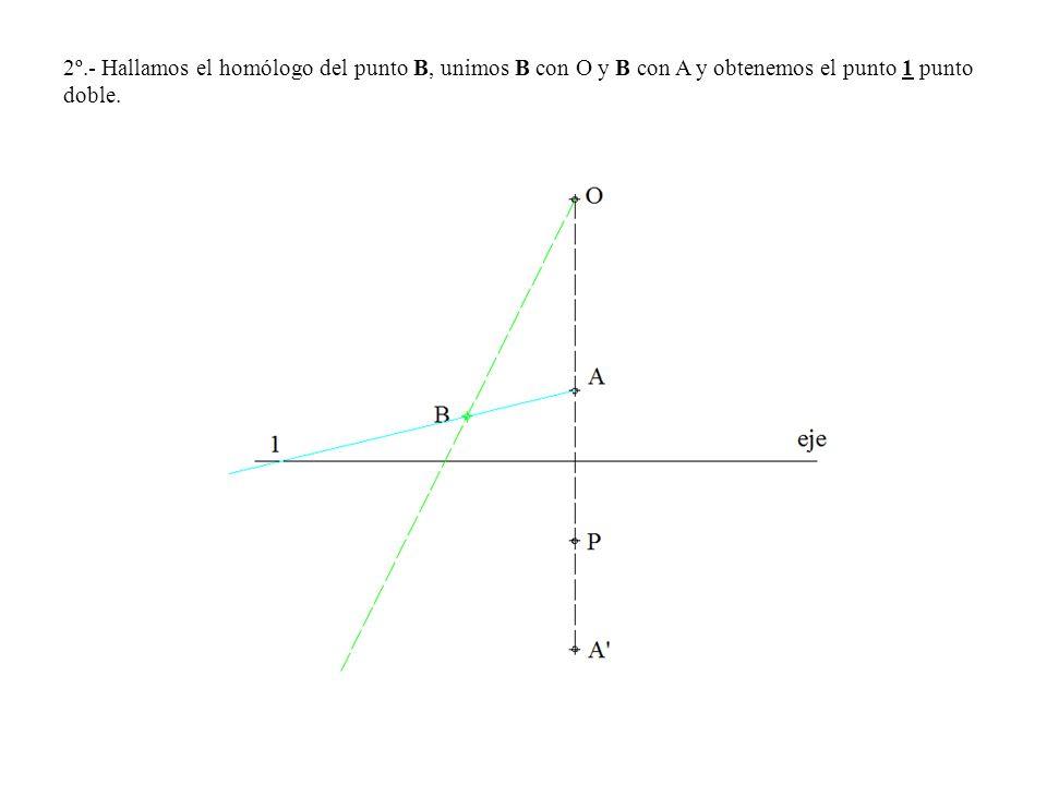 2º.- Hallamos el homólogo del punto B, unimos B con O y B con A y obtenemos el punto 1 punto doble.
