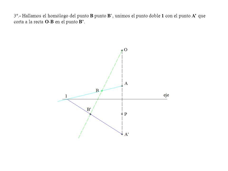 3º.- Hallamos el homólogo del punto B punto B, unimos el punto doble 1 con el punto A que corta a la recta O-B en el punto B.