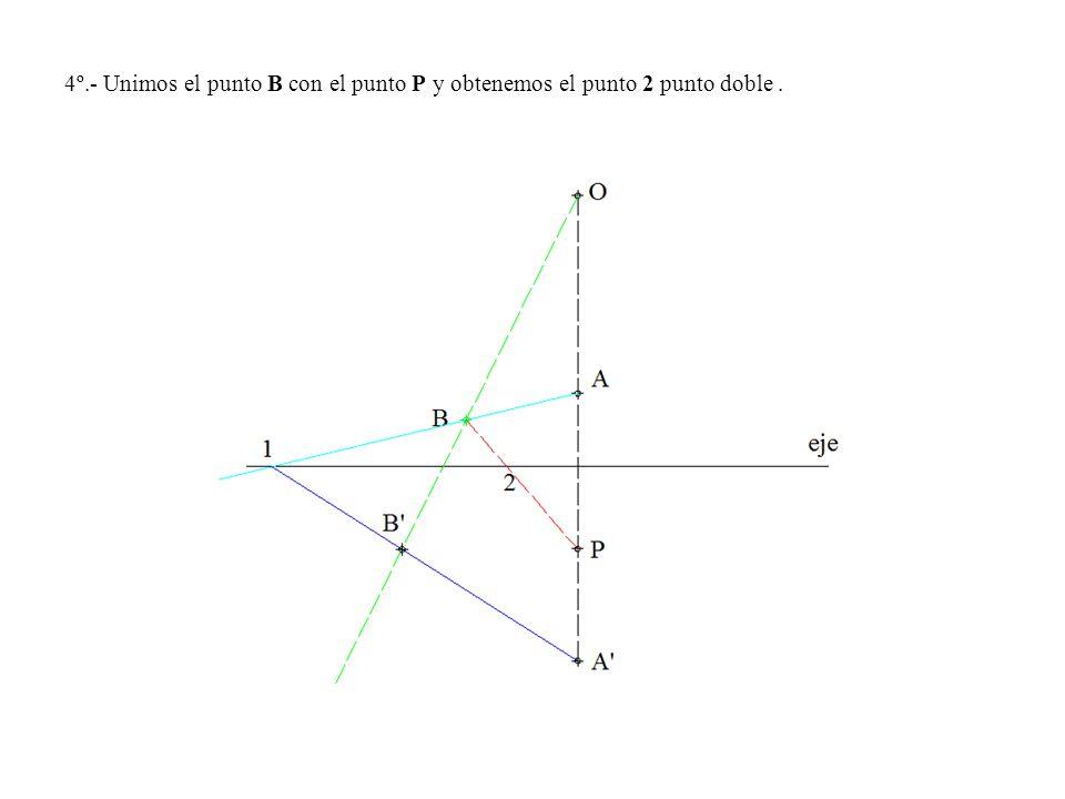 4º.- Unimos el punto B con el punto P y obtenemos el punto 2 punto doble.
