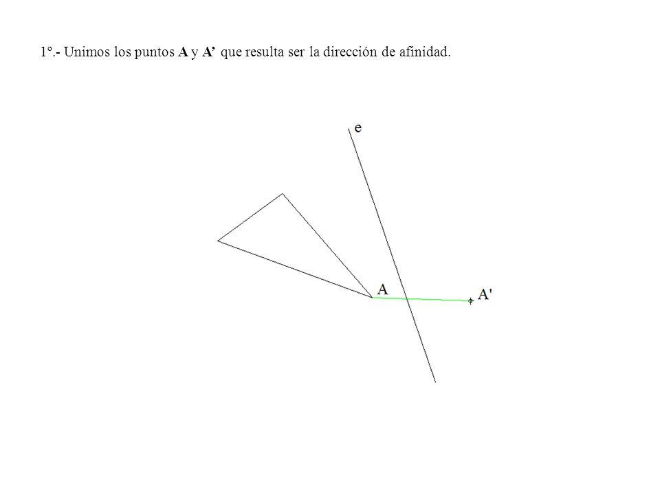 1º.- Unimos los puntos A y A que resulta ser la dirección de afinidad.