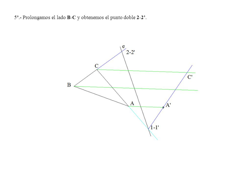 5º.- Prolongamos el lado B-C y obtenemos el punto doble 2-2.