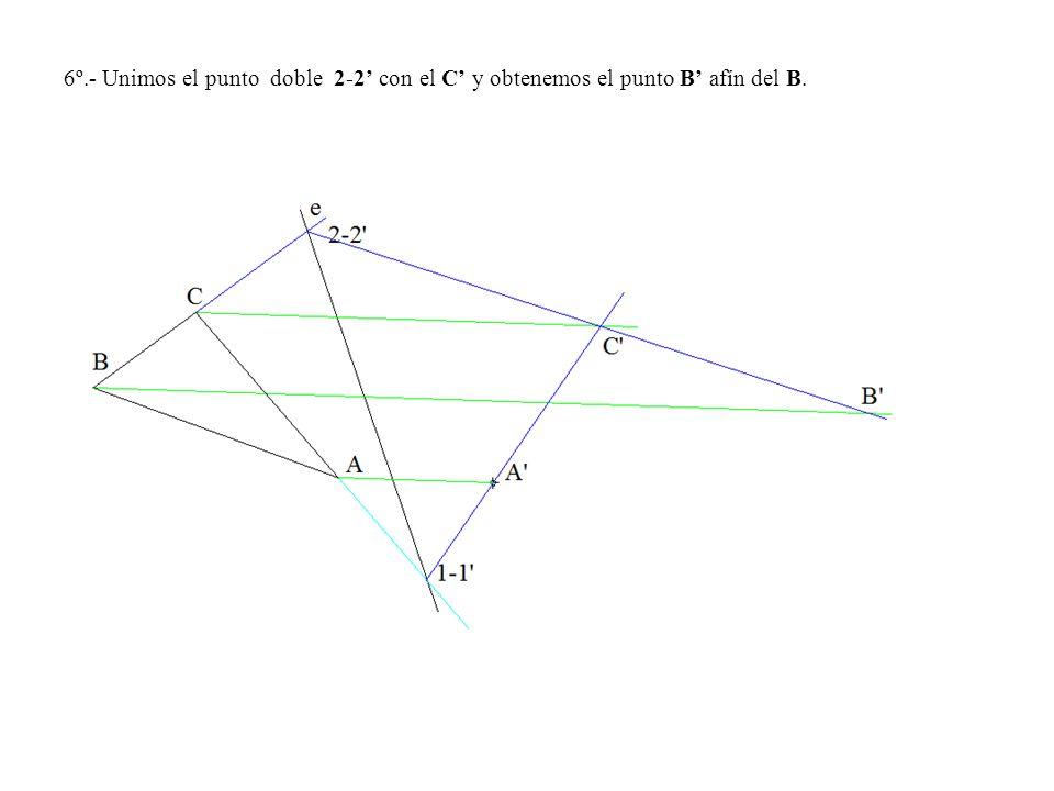 6º.- Unimos el punto doble 2-2 con el C y obtenemos el punto B afín del B.