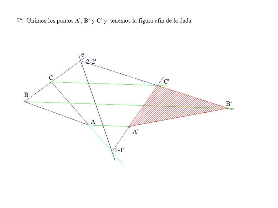7º.- Unimos los puntos A, B y C y tenemos la figura afín de la dada.