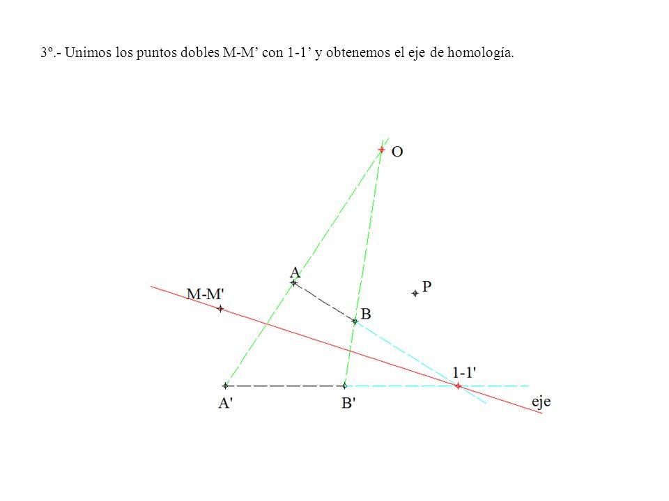 3º.- Unimos los puntos dobles M-M con 1-1 y obtenemos el eje de homología.