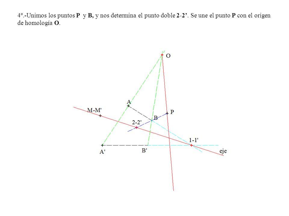 4º.-Unimos los puntos P y B, y nos determina el punto doble 2-2. Se une el punto P con el origen de homología O.