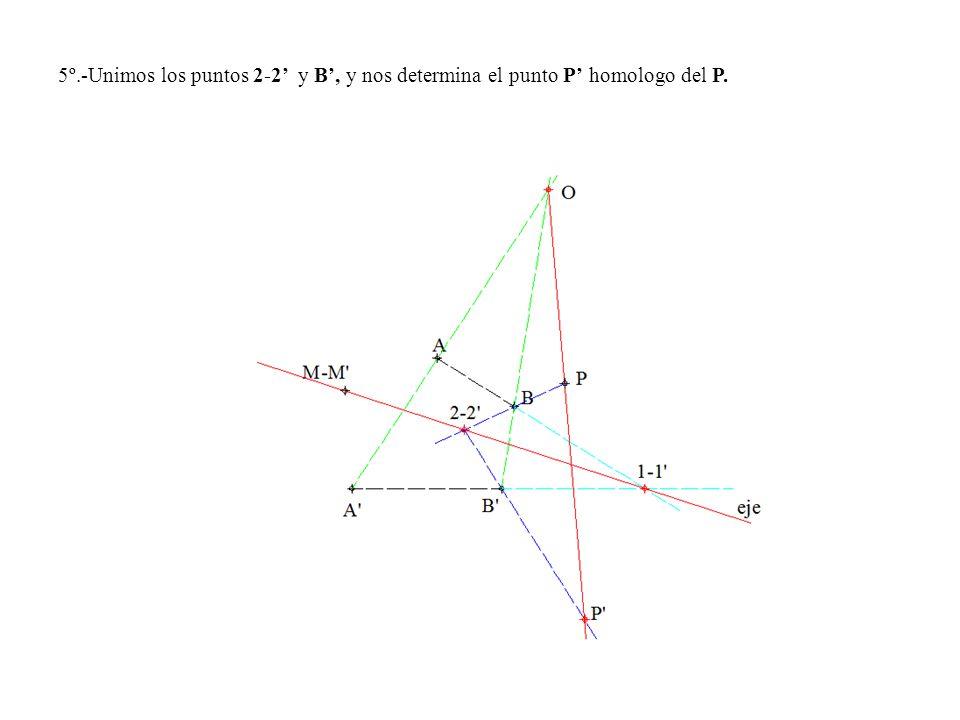 5º.-Unimos los puntos 2-2 y B, y nos determina el punto P homologo del P.