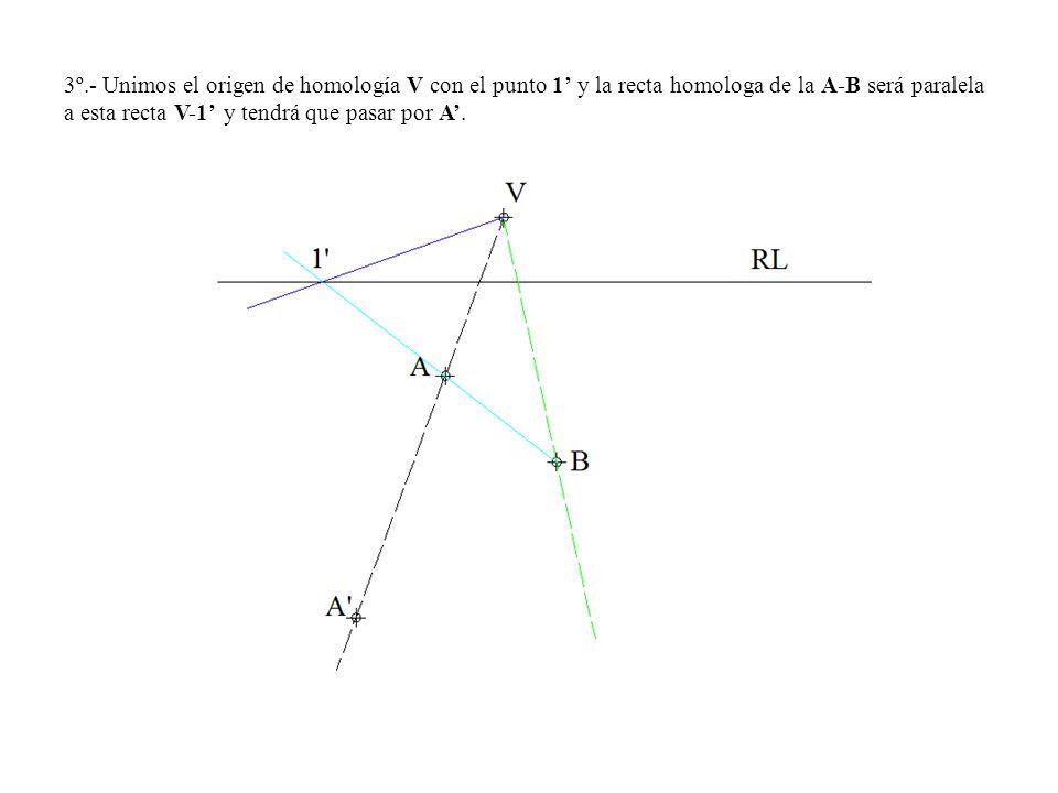 3º.- Unimos el origen de homología V con el punto 1 y la recta homologa de la A-B será paralela a esta recta V-1 y tendrá que pasar por A.