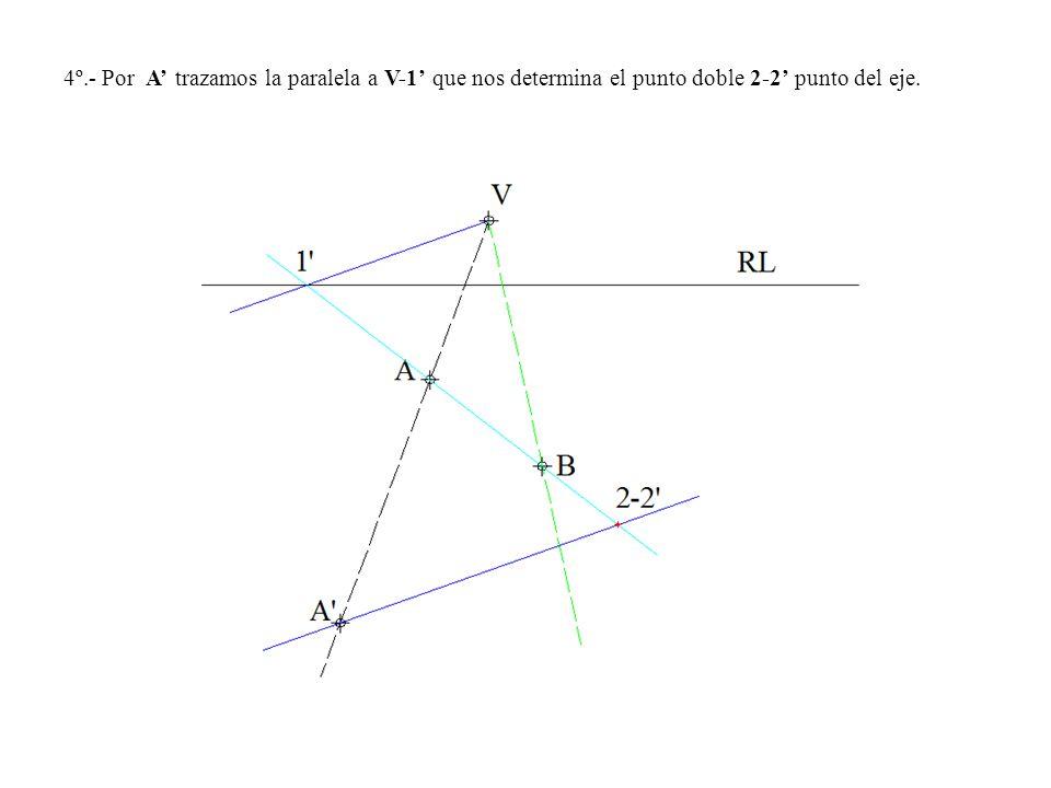 4º.- Por A trazamos la paralela a V-1 que nos determina el punto doble 2-2 punto del eje.