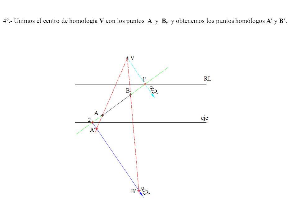 4º.- Unimos el centro de homología V con los puntos A y B, y obtenemos los puntos homólogos A y B.