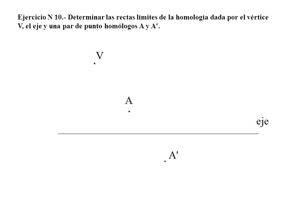 Ejercicio N 10.- Determinar las rectas límites de la homología dada por el vértice V, el eje y una par de punto homólogos A y A'.