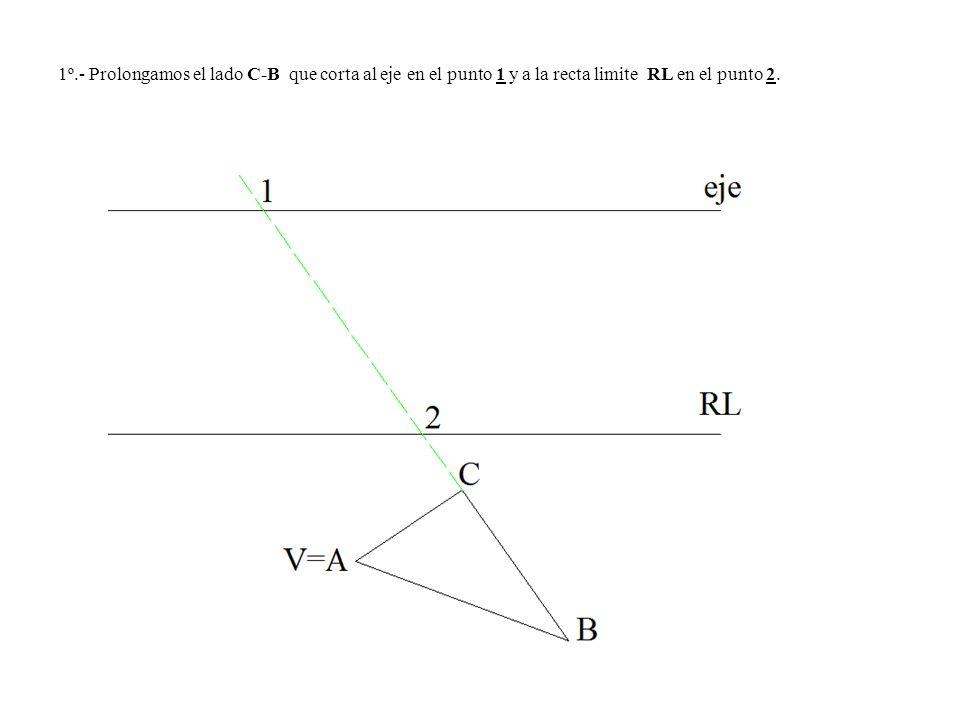1º.- Prolongamos el lado C-B que corta al eje en el punto 1 y a la recta limite RL en el punto 2.