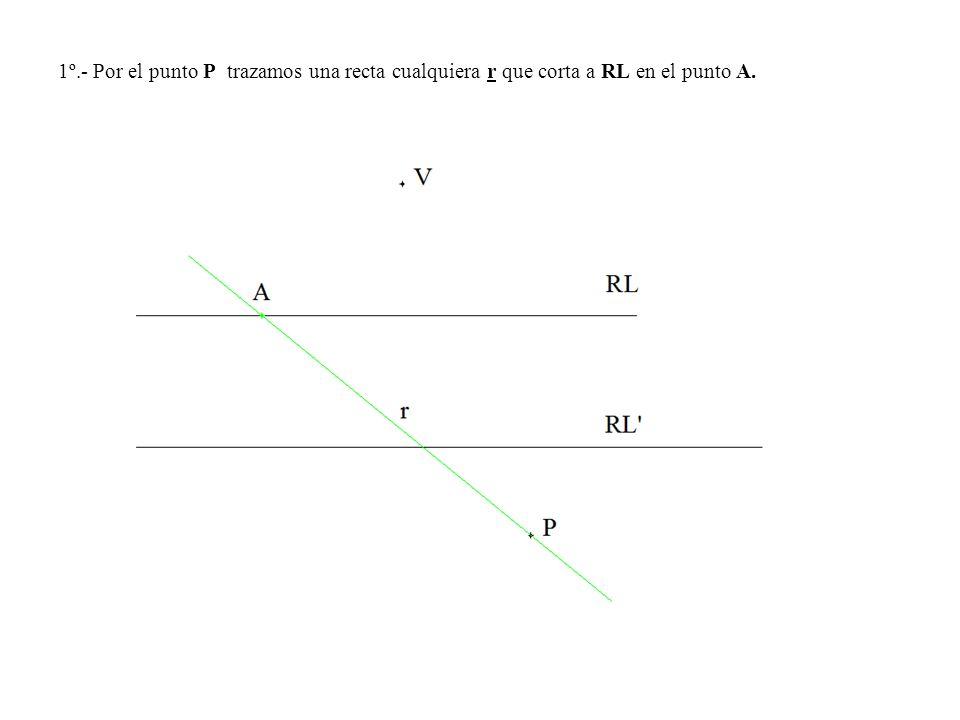 1º.- Por el punto P trazamos una recta cualquiera r que corta a RL en el punto A.