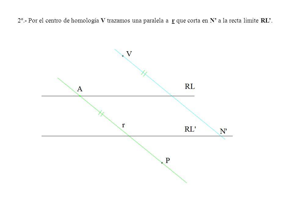 2º.- Por el centro de homología V trazamos una paralela a r que corta en N a la recta limite RL.