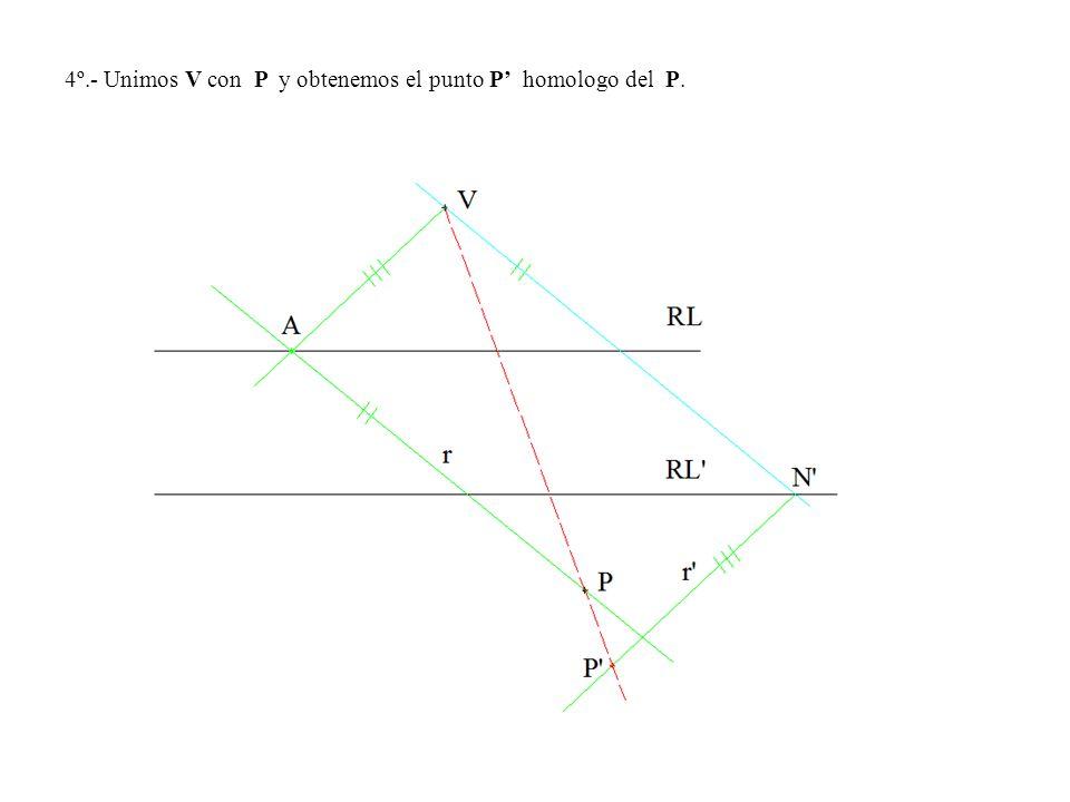 4º.- Unimos V con P y obtenemos el punto P homologo del P.