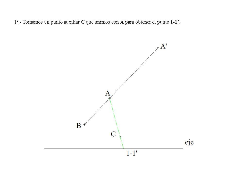 1º.- Tomamos un punto auxiliar C que unimos con A para obtener el punto 1-1.