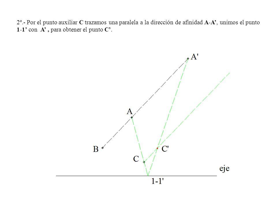2º.- Por el punto auxiliar C trazamos una paralela a la dirección de afinidad A-A, unimos el punto 1-1 con A, para obtener el punto C.