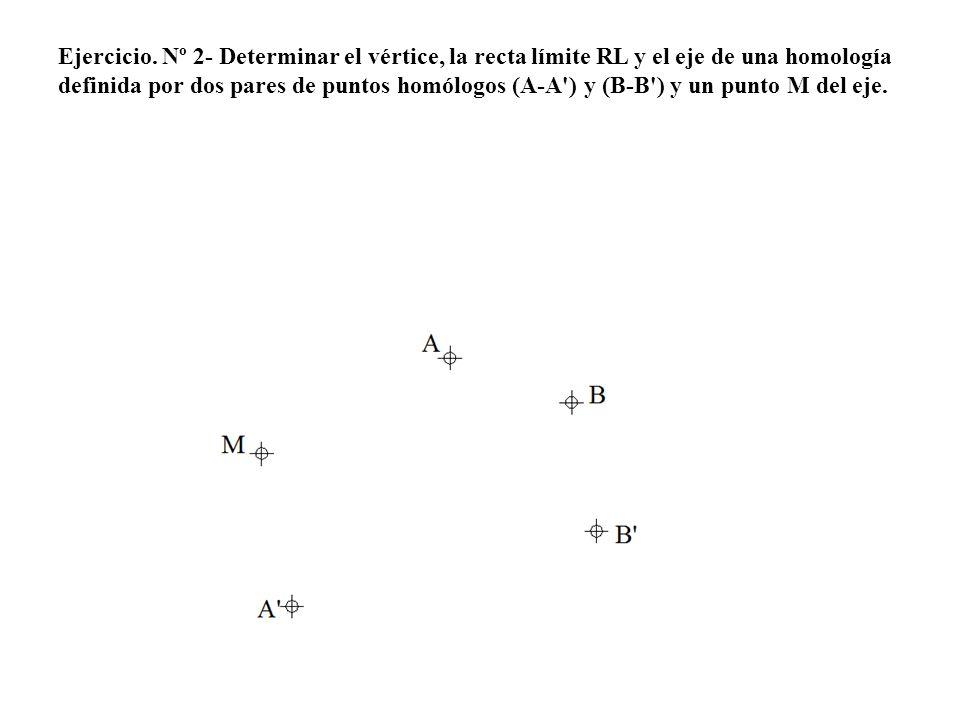 Ejercicio. Nº 2- Determinar el vértice, la recta límite RL y el eje de una homología definida por dos pares de puntos homólogos (A-A') y (B-B') y un p