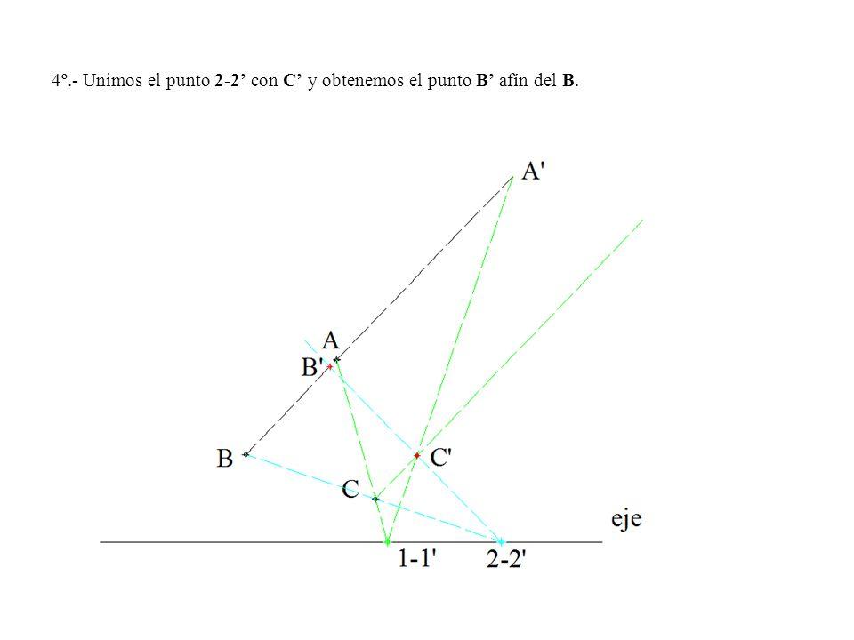 4º.- Unimos el punto 2-2 con C y obtenemos el punto B afín del B.
