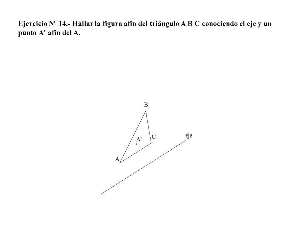 Ejercicio Nº 14.- Hallar la figura afín del triángulo A B C conociendo el eje y un punto A' afín del A.