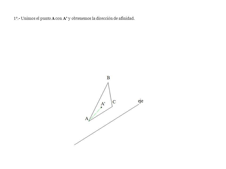 1º.- Unimos el punto A con A y obtenemos la dirección de afinidad.