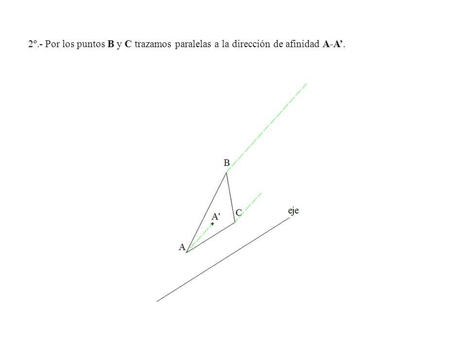 2º.- Por los puntos B y C trazamos paralelas a la dirección de afinidad A-A.