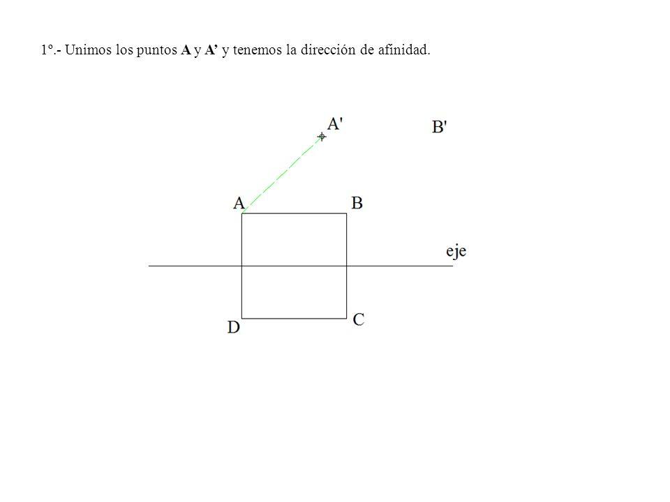 1º.- Unimos los puntos A y A y tenemos la dirección de afinidad.