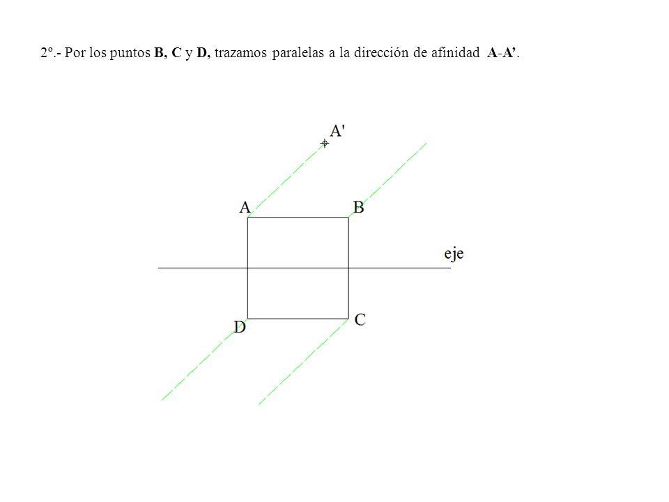 2º.- Por los puntos B, C y D, trazamos paralelas a la dirección de afinidad A-A.
