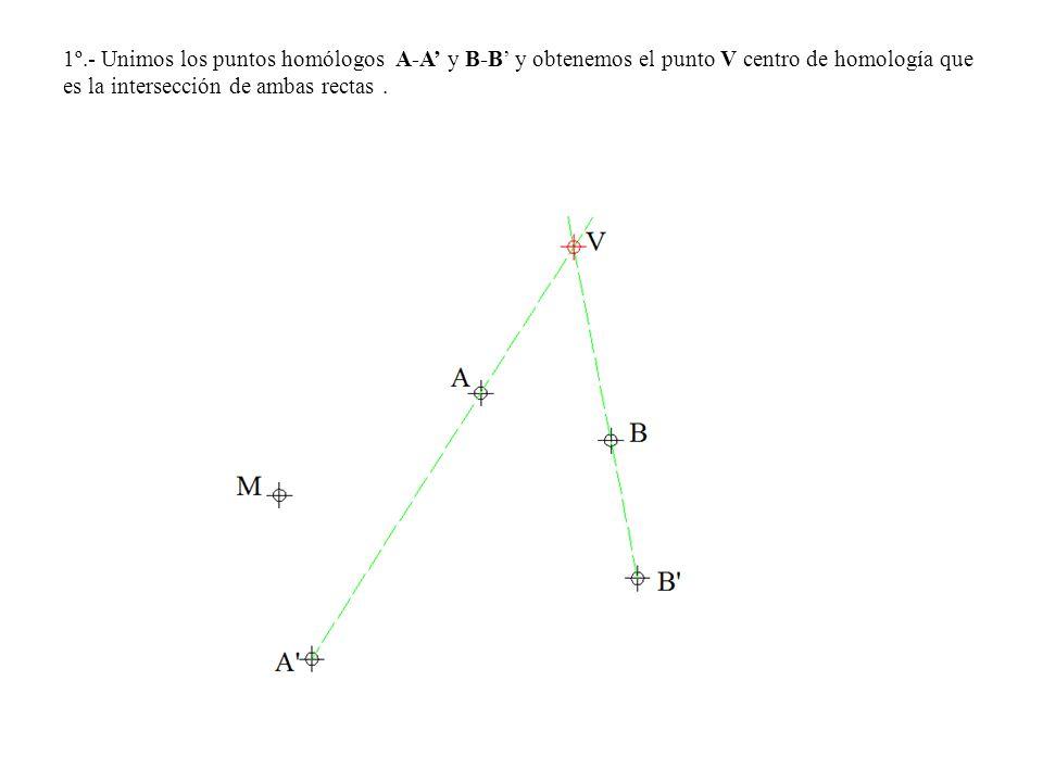 1º.- Unimos los puntos homólogos A-A y B-B y obtenemos el punto V centro de homología que es la intersección de ambas rectas.