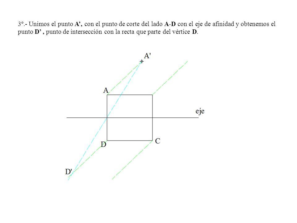 3º.- Unimos el punto A, con el punto de corte del lado A-D con el eje de afinidad y obtenemos el punto D, punto de intersección con la recta que parte