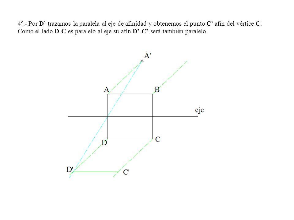 4º.- Por D trazamos la paralela al eje de afinidad y obtenemos el punto C afín del vértice C. Como el lado D-C es paralelo al eje su afín D-C será tam