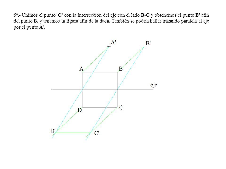 5º.- Unimos el punto C con la intersección del eje con el lado B-C y obtenemos el punto B afín del punto B, y tenemos la figura afín de la dada. Tambi