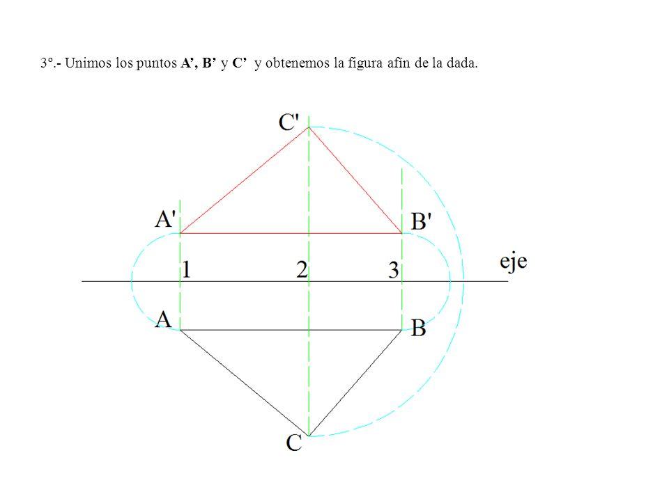 3º.- Unimos los puntos A, B y C y obtenemos la figura afín de la dada.